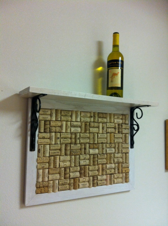 Custom Wine Cork Board 16 x 21 w/ Shelf by jdfdesigns on Etsy, $95.00