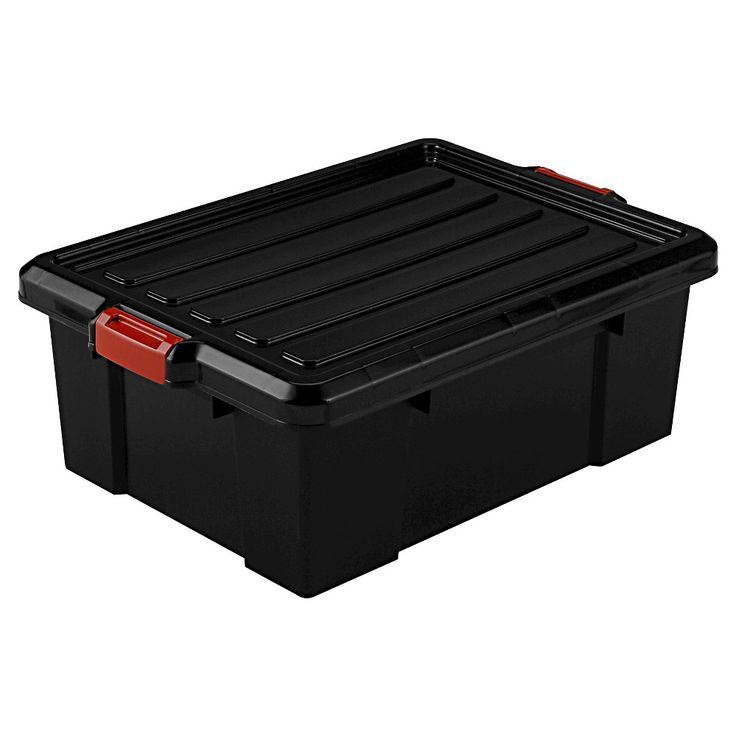 Iris 11 Gallon Heavy Duty Plastic Storage Bin - 4pk, Black