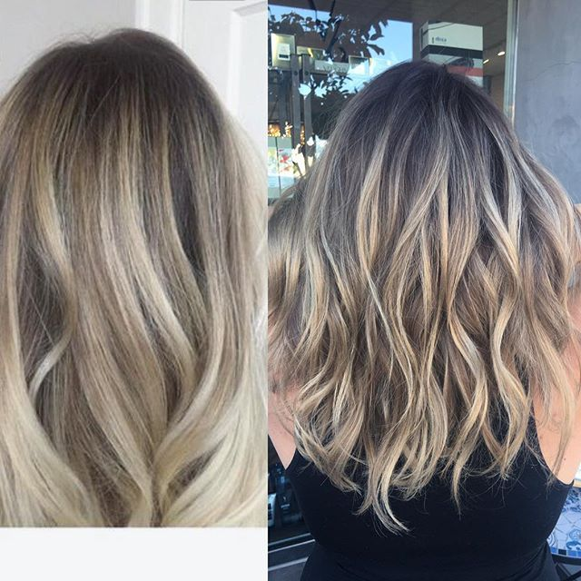 ✨Inspiration // Achieved Rooted Balayage ✔️ Taylor @taylorgalambos brought me this inspo hair photo on the left. Right photo is my finished color on Taylor. She came to me with an all over grown-out blonde with her natural dark roots showing. To create this look for her, I did heavy Balayage lowlights & a root shadow in between. Now she doesn't have to worry about dark lines when her color grows out! #lajollalocals #sandiegoconnection #sdlocals - posted by San Diego Hair Stylist ✂️…