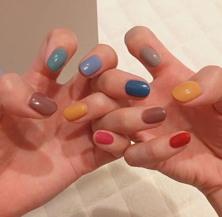 Fall Colors Multicolor Nails Minimalist Nails Cute Nails Manicure