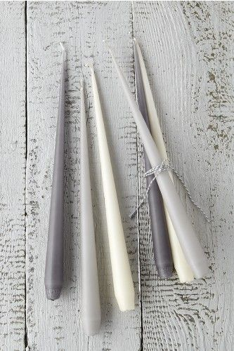 Twelve Tapered Candles in Elegant Greys (Dark Grey, Grey and White) http://www.sophieconran.com/new/ester-eric-taper-candle-grey-white-dark-grey