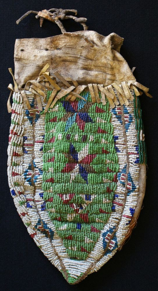 """1880s Eastern Sioux Indian 3 Panel Womans Beaded Bag Sinew Sewn On Hide 11"""" x 6"""" 