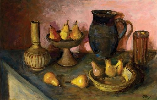 Still life with pears and pots by Margaret Olley 1990