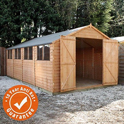 20×10 Overlap Wooden Apex Garden Shed Workshop – Styrene Windows, Double Door, Felt Included – By Waltons