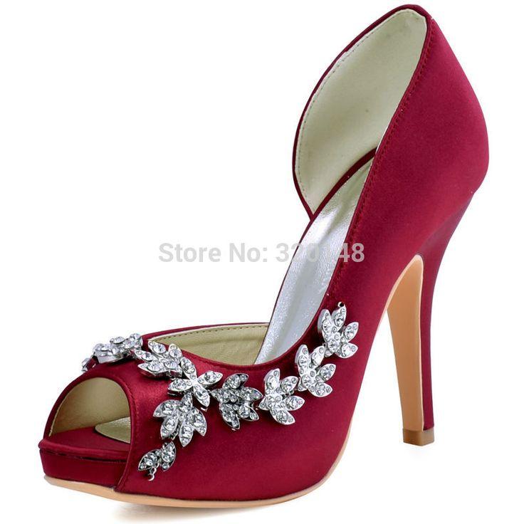 Women Platform High Heels Bridal Wedding Shoes Ivory White Rhinestones Peep toe Bride Bridesmaids Prom Pumps Burgundy HP1560IAC #weddingshoes