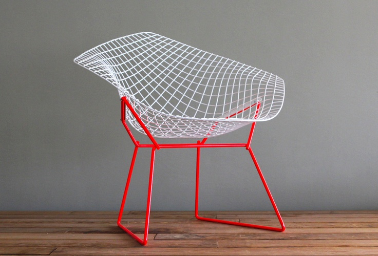Two tone bertoia diamond for knoll vintage upcycled chair