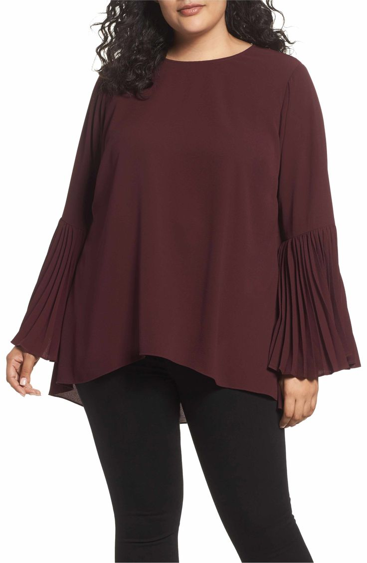 Main Image - Vince Camuto Pleated Bell Sleeve High/Low Shirt (Plus Size)
