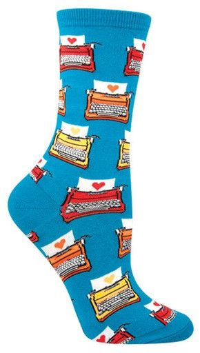 Get inspired to write with these typewriter socks. Blue crew length socks with typewriters all over. Fits a women's shoe size 5-10.