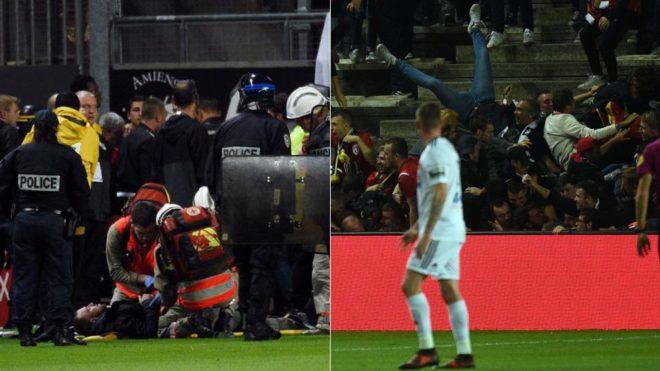 Liga Francesa: 18 heridos, tres de ellos graves, tras una avalancha de aficionados en el Amiens-Lille   http://www.marca.com/futbol/liga-francesa/2017/09/30/59cfe21ee5fdea05068b45f0.html
