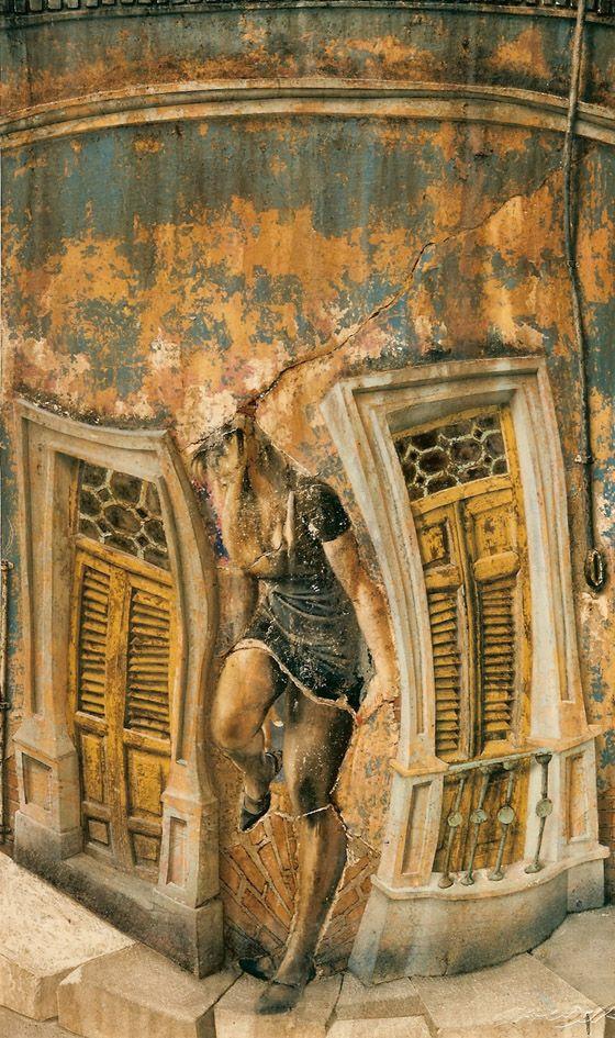 La Habana Vieja, Mixta sobre tela sobre madera
