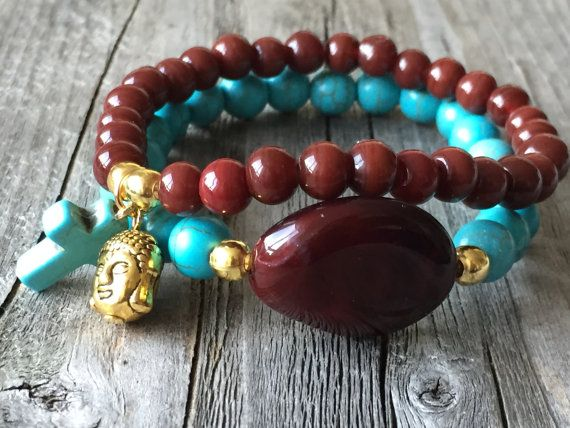 Bohemian armbanden Buddha armband Stretch stapel door KennlyDesign