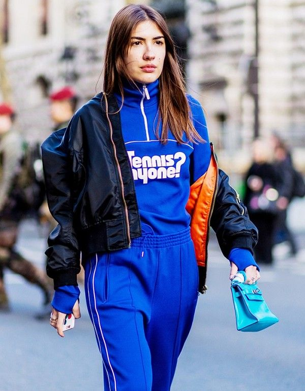 Patricia Manfield gets super sporty in a tracksuit set and nylon bomber jacket
