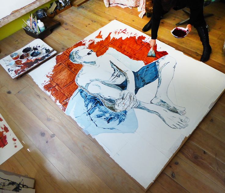 Adding red! Art in the making. Mixed media, 200cm by 160cm © 2015 Just-Yvette #painting #oilpaint #art #contemporary #figurative #malemodel  #justyvette