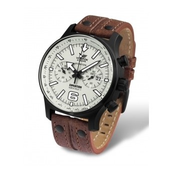 Relojes de piloto: Reloj Vostok Edición Limitada North Pole con correa de piel marrón y tachuelas, lo que le da un toque desenfadado.   http://www.tutunca.es/reloj-edicion-limitada-vostok-piel-marron-crono-north-pole
