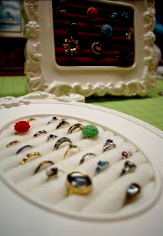 DIY Ring Holder Frame - Clever! Once again, an opportunity to get really creative! Be unique w/ it!