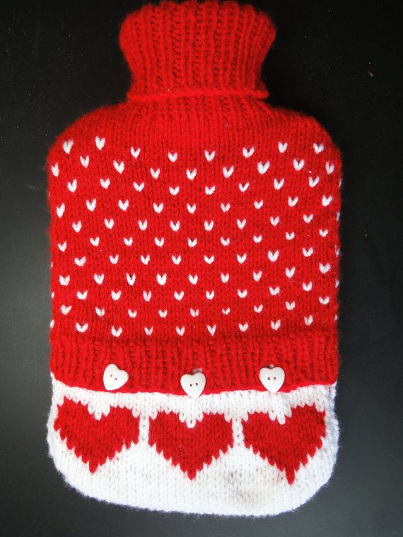 Knitted Hot Water Bottle Cover & Big Bottle  Red by VividBear, $29.00