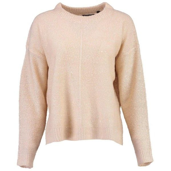 Boohoo Daisy Seam Detail Boxy Jumper ($20) ❤ liked on Polyvore featuring tops, sweaters, party jumpers, pink turtleneck sweater, knit turtleneck sweater, nordic sweater and chunky knit sweater