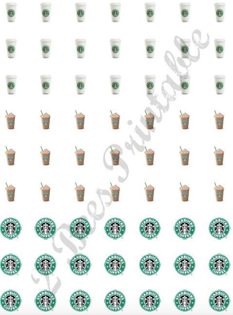 Printable Starbucks Stickers for Planners by 2BeesPlannerSupplies on Etsy https://www.etsy.com/listing/233325330/printable-starbucks-stickers-for