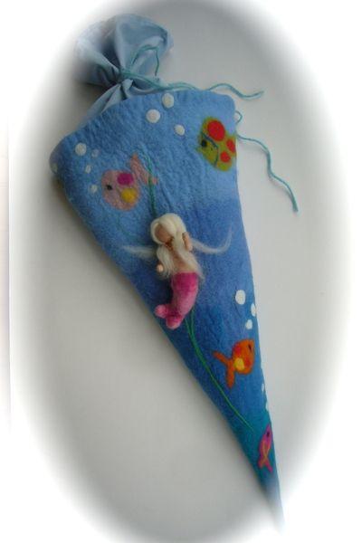 Schultüte Filz Zuckertüte.Meerjungfrau.Gefilzt von Filz-Art. auf DaWanda.com