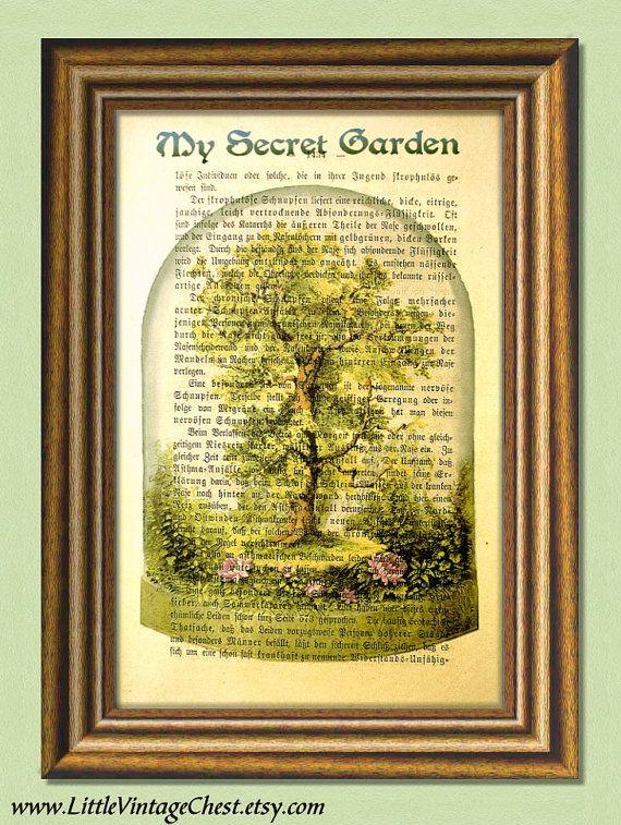 MY SECRET GARDEN  Dictionary art print by littlevintagechest, $7.99