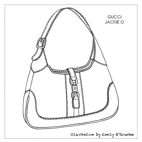 GUCCI - 'JACKIE O' BAG - Designer Handbag Illustration / Sketch / Drawing / CAD / Borsa Disegno
