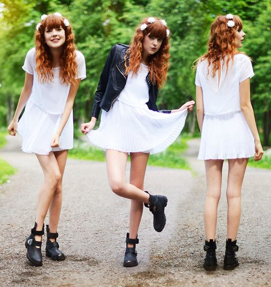 Ebba Z For Sin Top, Ebba Z For Sin Dress, Tba Boots, Romwe Jacket, H Hair Pins, Rapunzel Of Sweden Fake Bangs