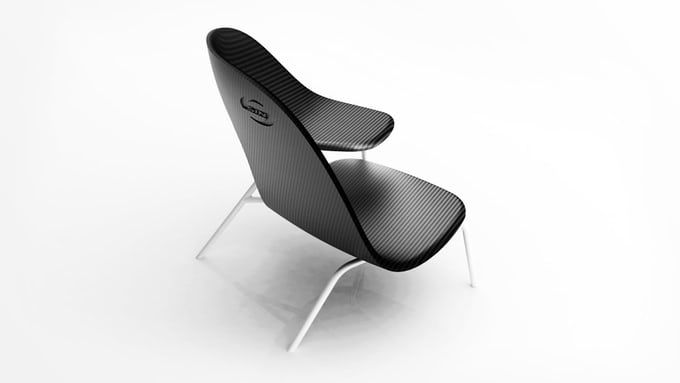 """Carbon """"hug chair"""" facilitates seated canoodling. Enjoy a nice snuggle, but find your legs start going to sleep when your significant other spends any significant time on your lap?"""