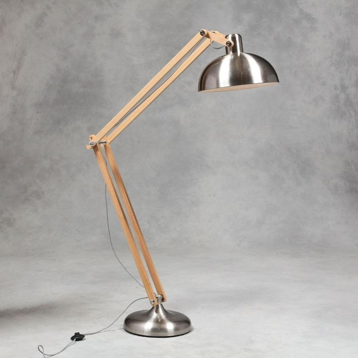 Elderflower Lane - Classic Extra Large Brushed Steel and Wood Angle poise Floor Lamp (black White Fabric Flex)