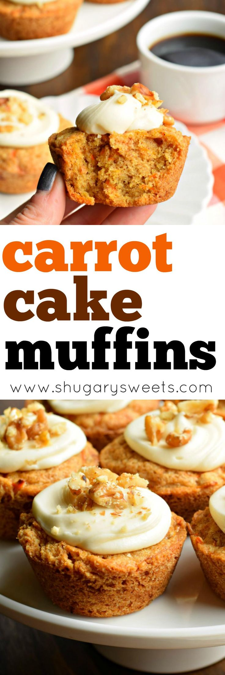 You're going to love eating these Carrot Cake Muffins for breakfast. Especially since they are topped with a cream cheese frosting and walnuts!