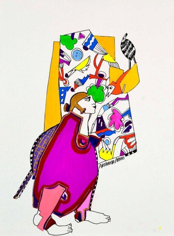 Armanda Passos Sem Título - 146)19 Chinese Ink and gouache x Paper 28 cm x 21 cm #ArmandaPassos #Gouache #Ink #Painting #Drawing #Color #Artwork #SãoMamedeArtGallery #Portugal #Lisbon #Art