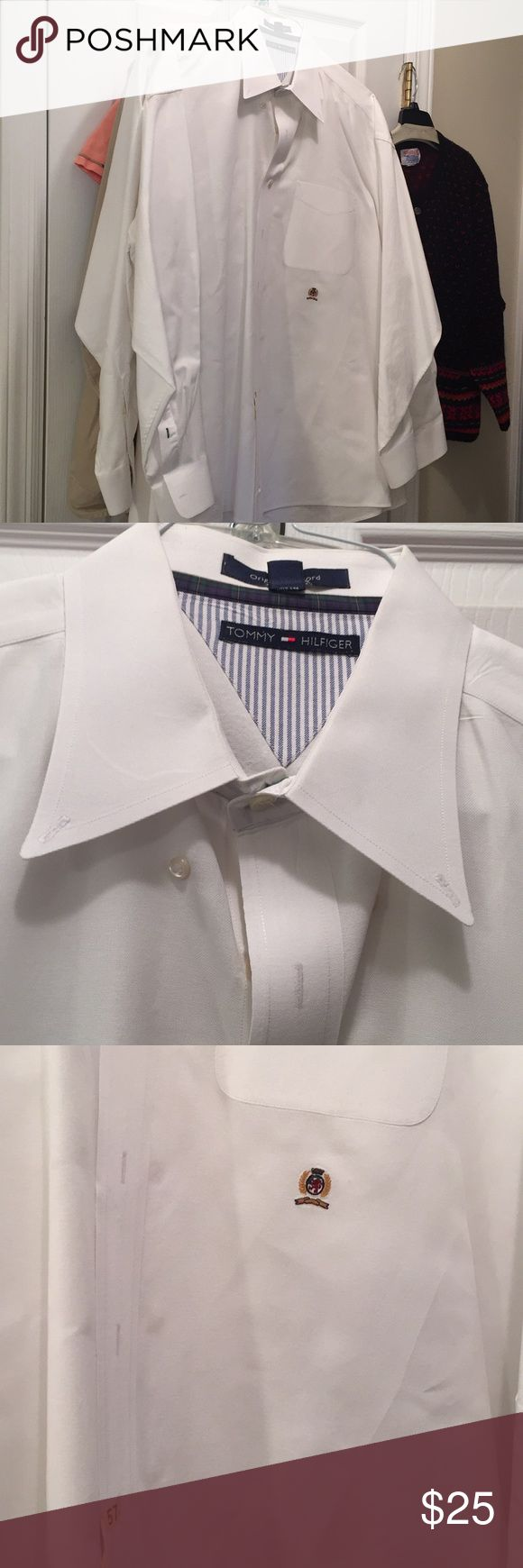 👔 fresh from the dry cleaners! Crisp white EUC looks brand spanking new!  Button down collar. Original Oxford. Size 18 neck, 34-35 sleeves 🎩 Tommy Hilfiger Shirts Dress Shirts