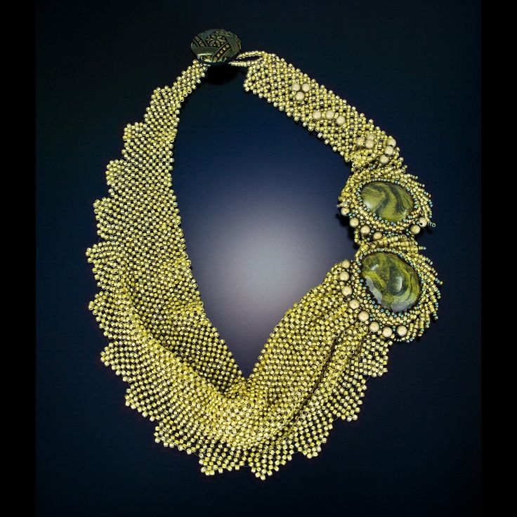 Necklace | Carolyn's Beads.  'Olive Garden'  Seed beads with handmade cabochon as accents