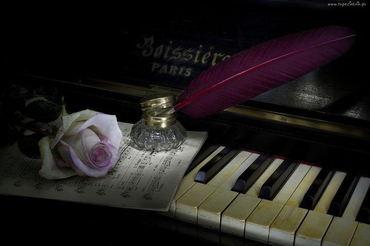Pianino, Róża, Nuty, Kałamarz, Pióro