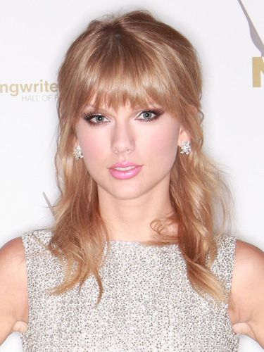 Want to accent sparkly earrings? Go for pulled back hair and bangs out for the holidays!