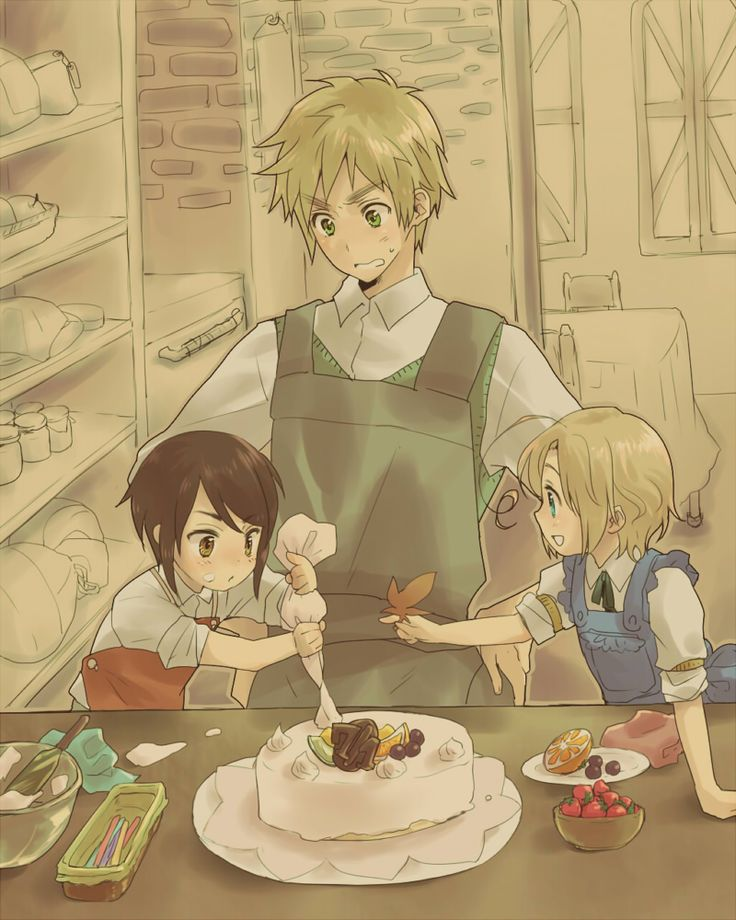 Arthur watches as Matthew and Kaoru (head-canon name for Hong Kong) make a cake. Art by Hiromu (formerly on Pixiv, but now gone)