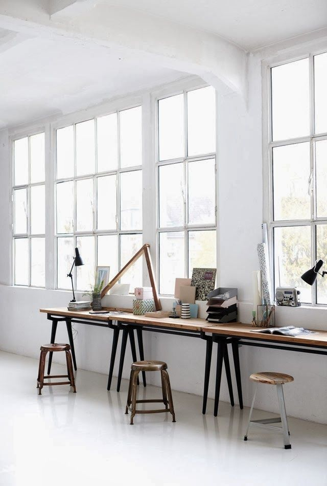 huge windows, white floors and walls, simple, industrial