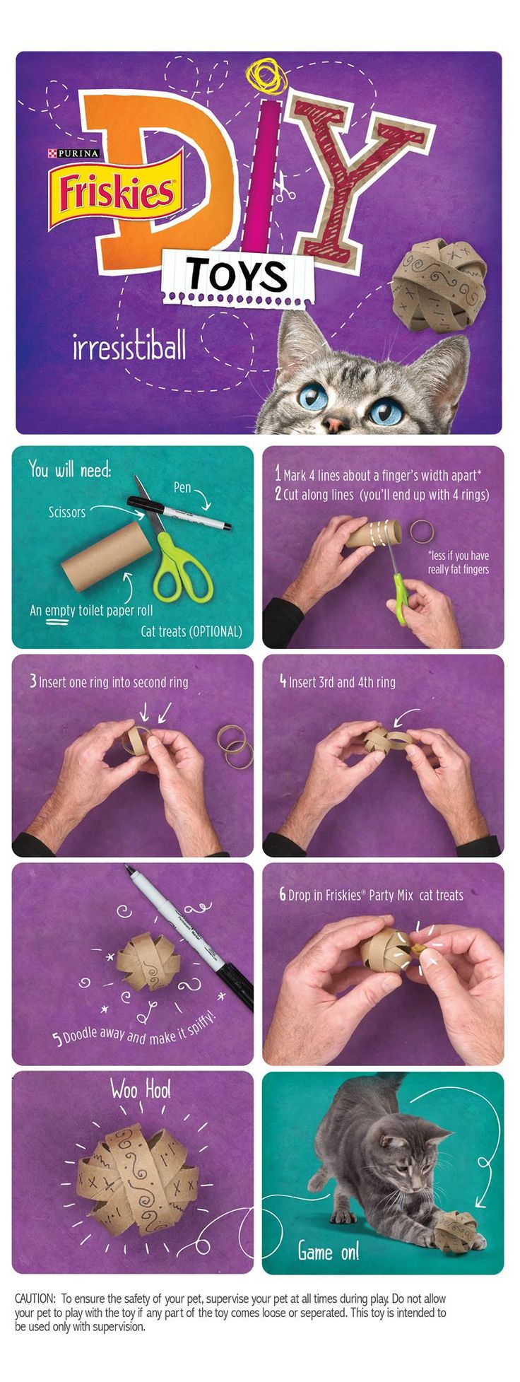 "Friskies® DIY Homemade Cat Toys: ""Irresistiball"" made of toilet paper tube rings with optional treats inside."