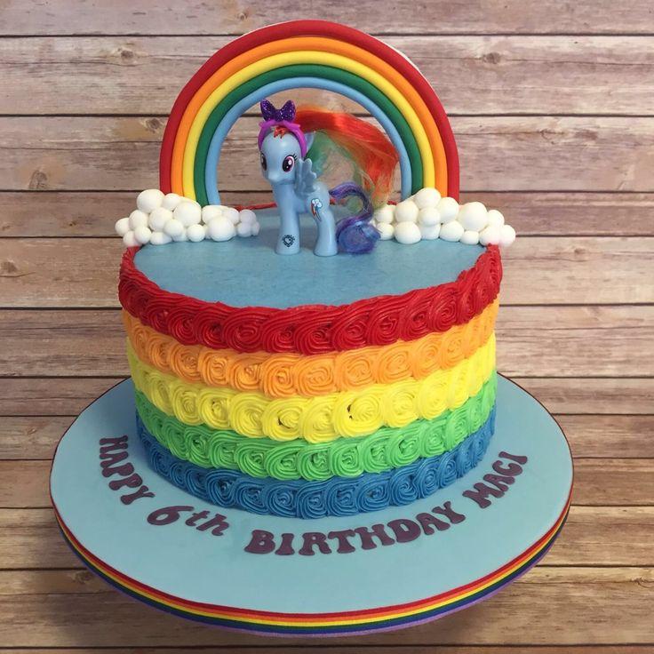 Rainbow dash my little pony cake with rainbow sponge and rainbow buttercream…