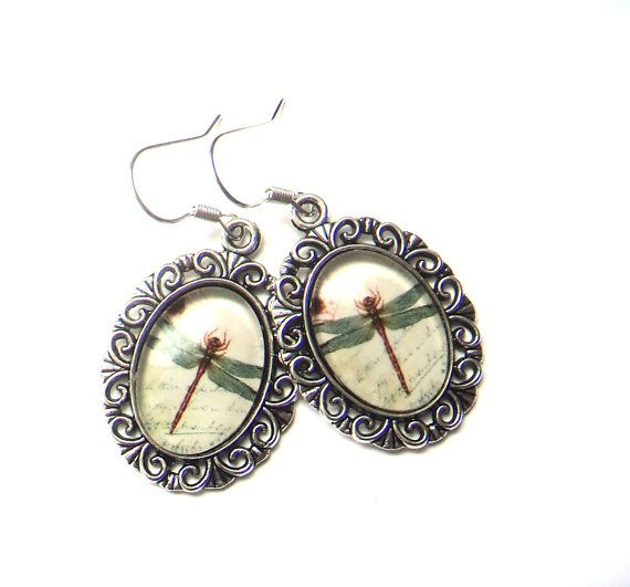Dragonfly earrings glass cabochon silver tone by IraleneJewellry, $14.98