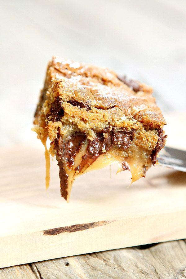 Gooey Salted Caramel Chocolate Chip Cookie Bars - RecipeGirl.com
