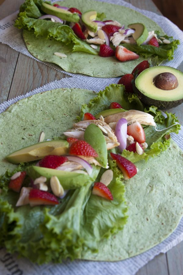 Chicken Strawberry Salad Wrap - roasted chicken with creamy avocado, sweet strawberries, and crunchy almonds.