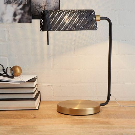 Modern Bankers Black and Brass Table Lamp