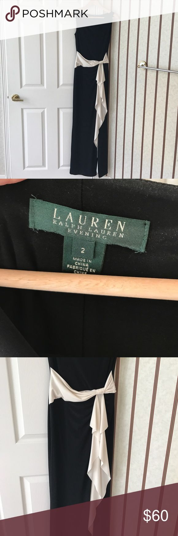 """Ralph Lauren evening dress size 2 Excellent used Ralph Lauren evening dress. Black with off-white tie/ruffle (it doesn't tie, it's made that way) Worn once and dry cleaned.  Beautiful form fitting dress for black tie or black tie optional event.  Knee high side slit in dress.  I am 120 Lbs and 5'6"""" and this fort perfectly. Lauren Ralph Lauren Dresses"""