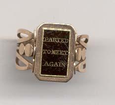 """Parted to meet again"" swivel memorial ring, circa 1770-1790."