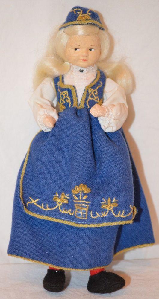 """Vintage 7.5"""" RONNAUG PETTERSSEN Romerike Girl Doll blue NORWEGIAN NORWAY cloth"""