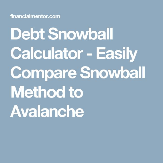 Debt Snowball Calculator - Easily Compare Snowball Method to Avalanche