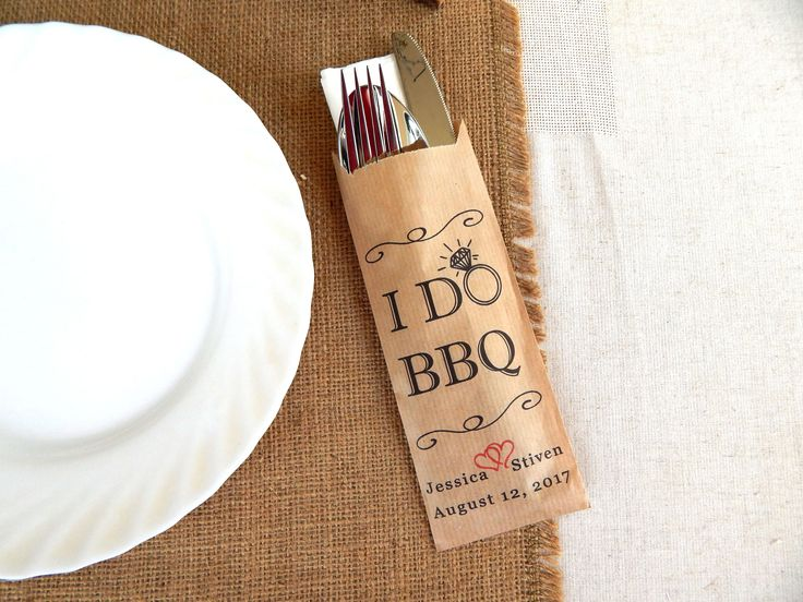 This is such a great idea for a BBQ wedding! | I DO BBQ | BBQ Wedding Reception | Wedding BBQ | I Do Wedding Ideas | Burlap Wedding | Rustic Wedding | Wedding Barbecue | Wedding Silverware Ideas | #bbq #weddingbarbecue #weddingbbq