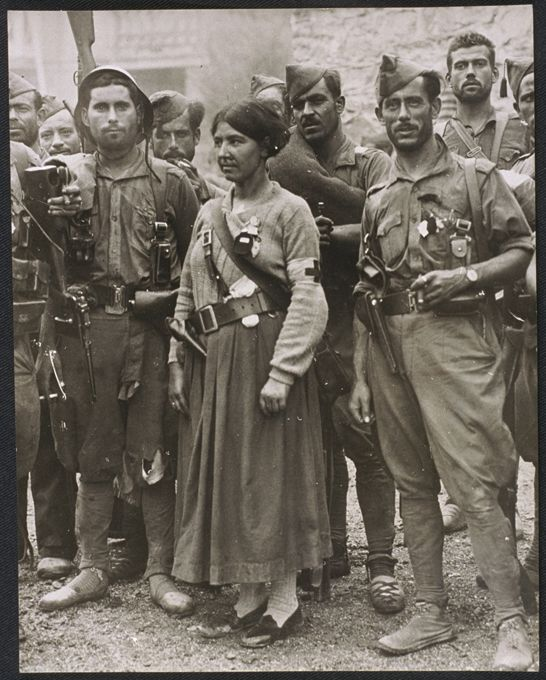Spain - 1936. - GC - Franco's Spanish Foreign Legion with Red Cross nurse in Irun.