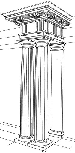 My first picture is just an example of the oldest order called the Doric. It was originally used by the Greeks. It is the simplest, but strongest out of the three orders. This depicts how the columns tapers from the bottom to the top.