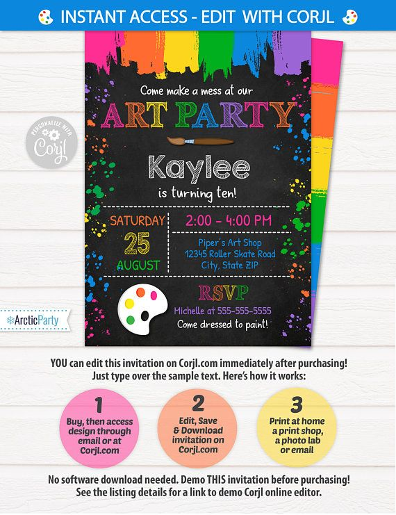Art Party Invitation Art Invitation Art Birthday Party $7.99 #ArtPartyInvitation #ArtInvitation #ArtBirthdayParty #Corjl